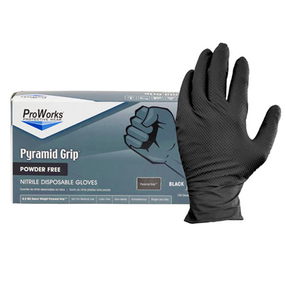 Hospeco - Black Medium Textured Powder Free Nitrile Gloves NT107BKFM