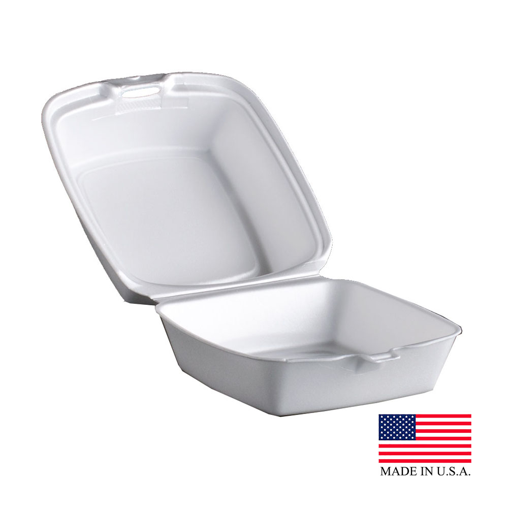 "Dart White 6"" Foam Hinged Container 60HT1"