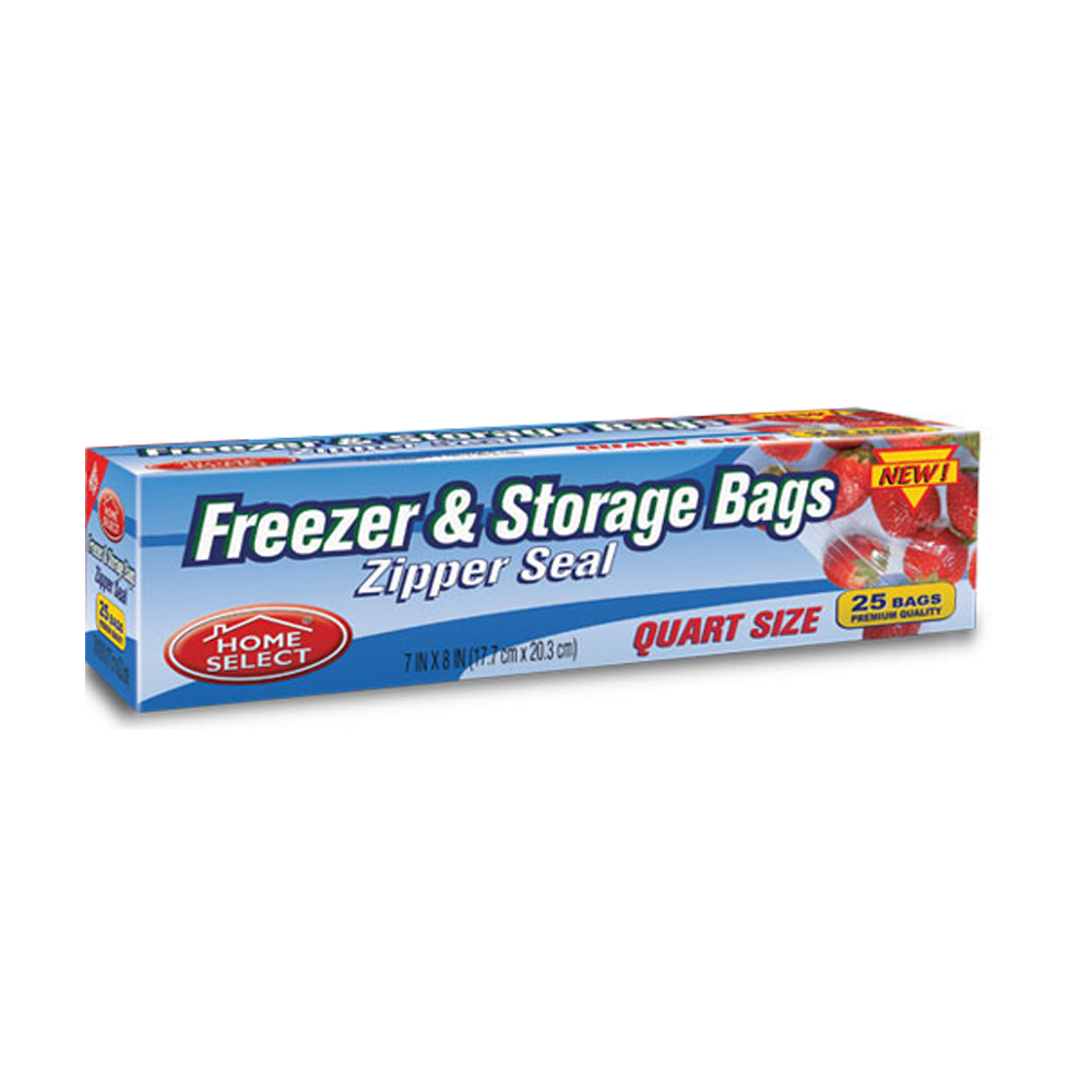 "Delta Brands - Home Select 7""x8"" 25 Count Quart Plastic Zipper Seal Freezer & Storage Bags 6077"