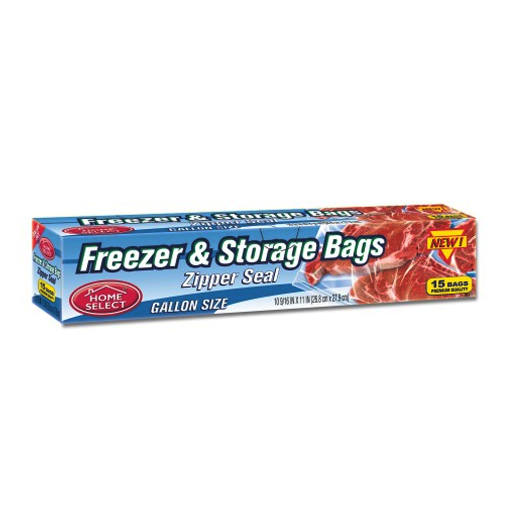 "Delta Brands - Home Select 16""x11"" 15 Count Gallon Plastic Zipper Seal Freezer & Storage Bags 6"