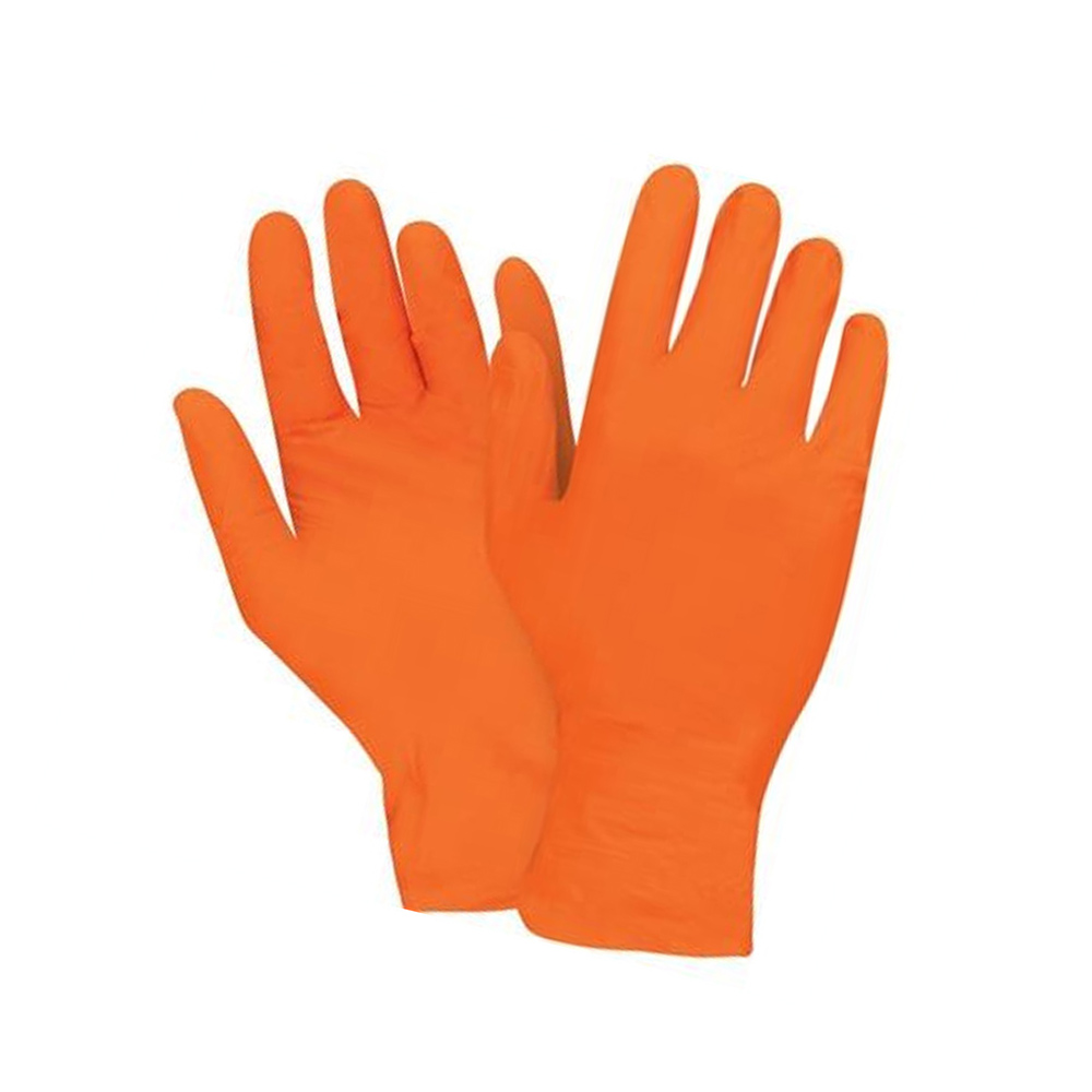 Hospeco Orange Large Textured Finger Tips Powder Free Nitrile Gloves GLN1050RFL