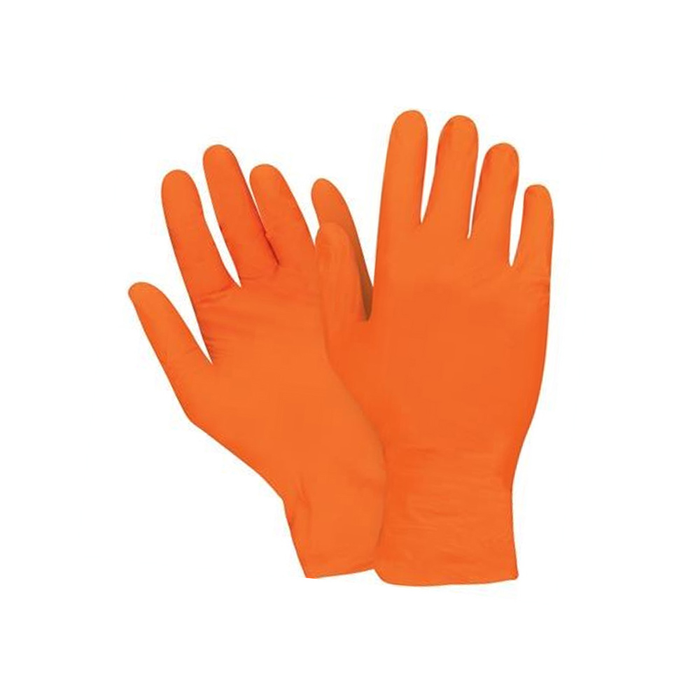 Hospeco Orange Large Powder Free Pyramid Grip Nitrile Gloves GLNT1070RFL