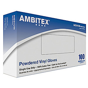 Tradex Intl Medium Disposable Multi Purpose Powdered Vinyl Glove VMD4101