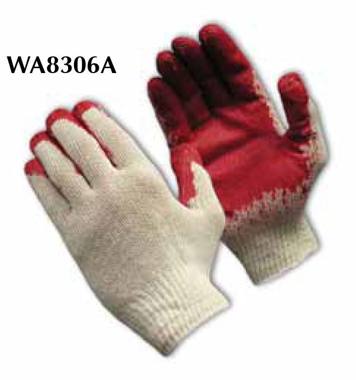 Red & White Knit Glove With Coated Palm One Size  Fits All WA8306A
