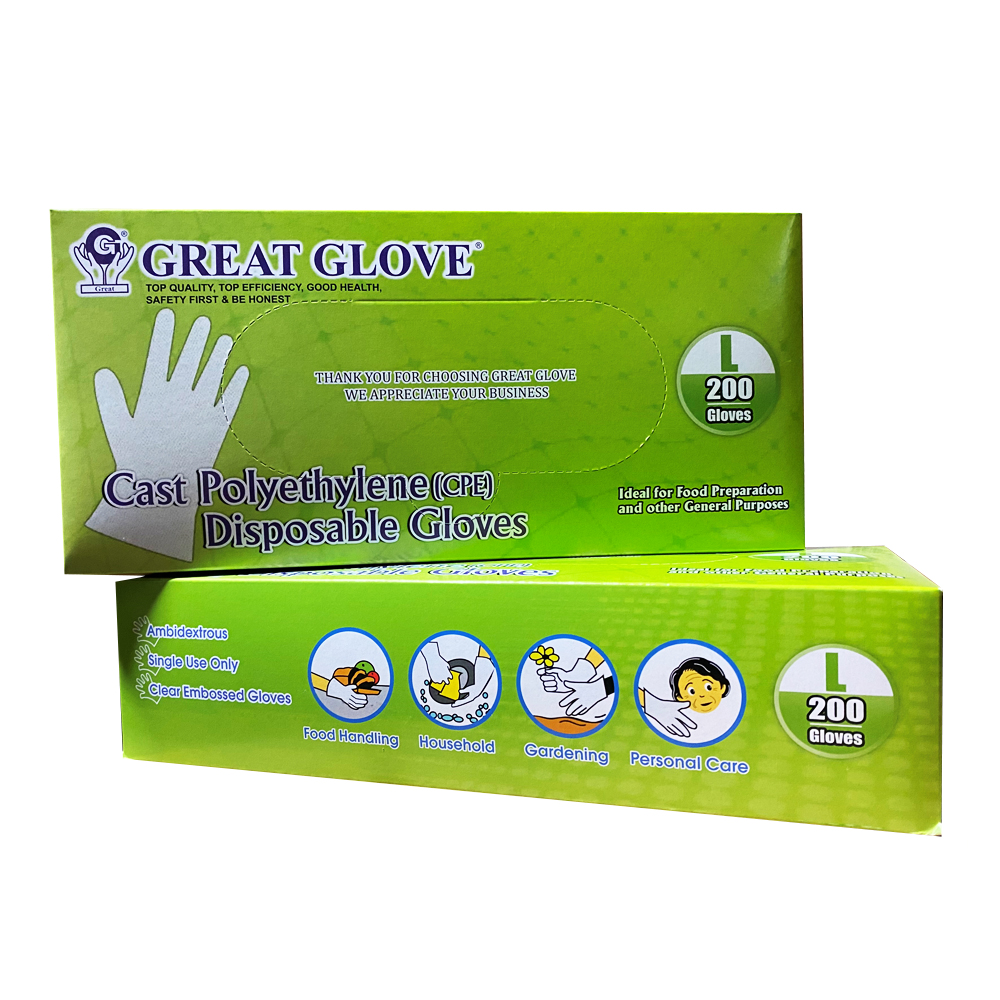 NPPC - Great Love Clear Large Powder Free Cast    Polyethylene Embossed Disposable Gloves CPE20