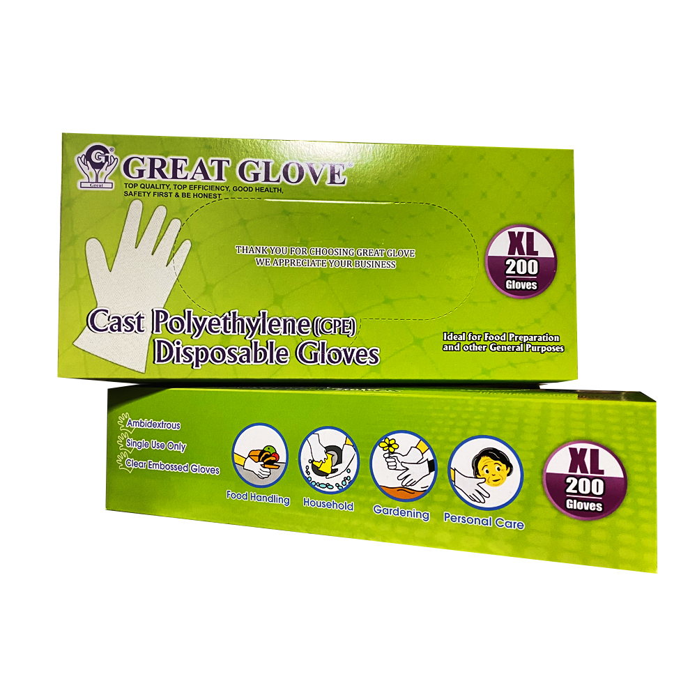 NPPC - Great Love Clear Extra Large Powder Free   Cast Polyethylene Embossed Disposable Gloves