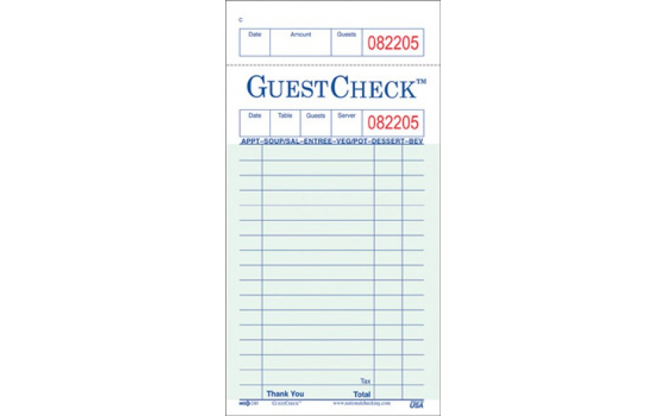 National Checking Green 1 Part 17 Line Paper Guest Check 240-50