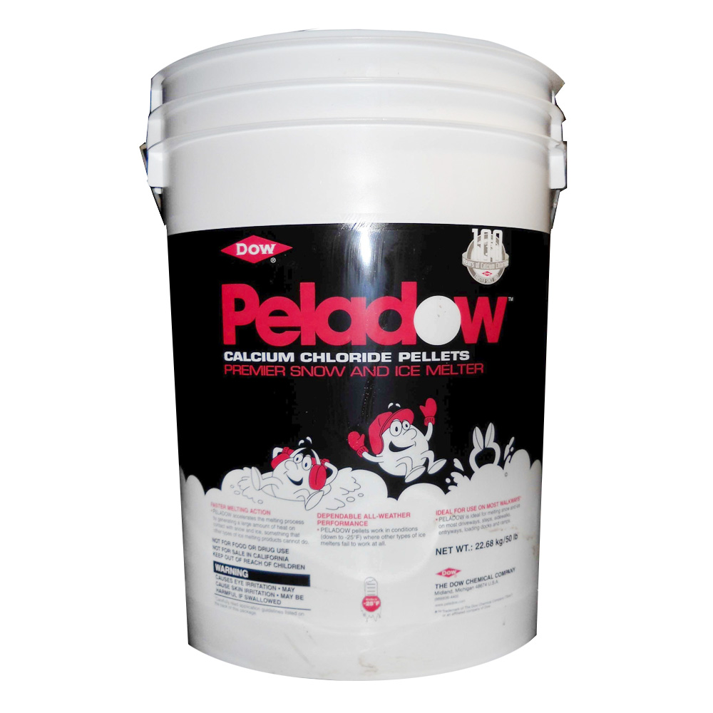 Deicing Depot 50lb Pail Peladow Ice Melt Calcium  Chloride Pellets 135535