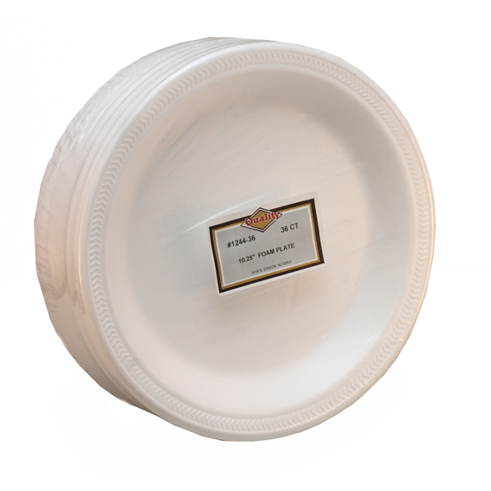 "Convenience Packs - Quality White 10.25"" Round    Foam Plate 1244A"