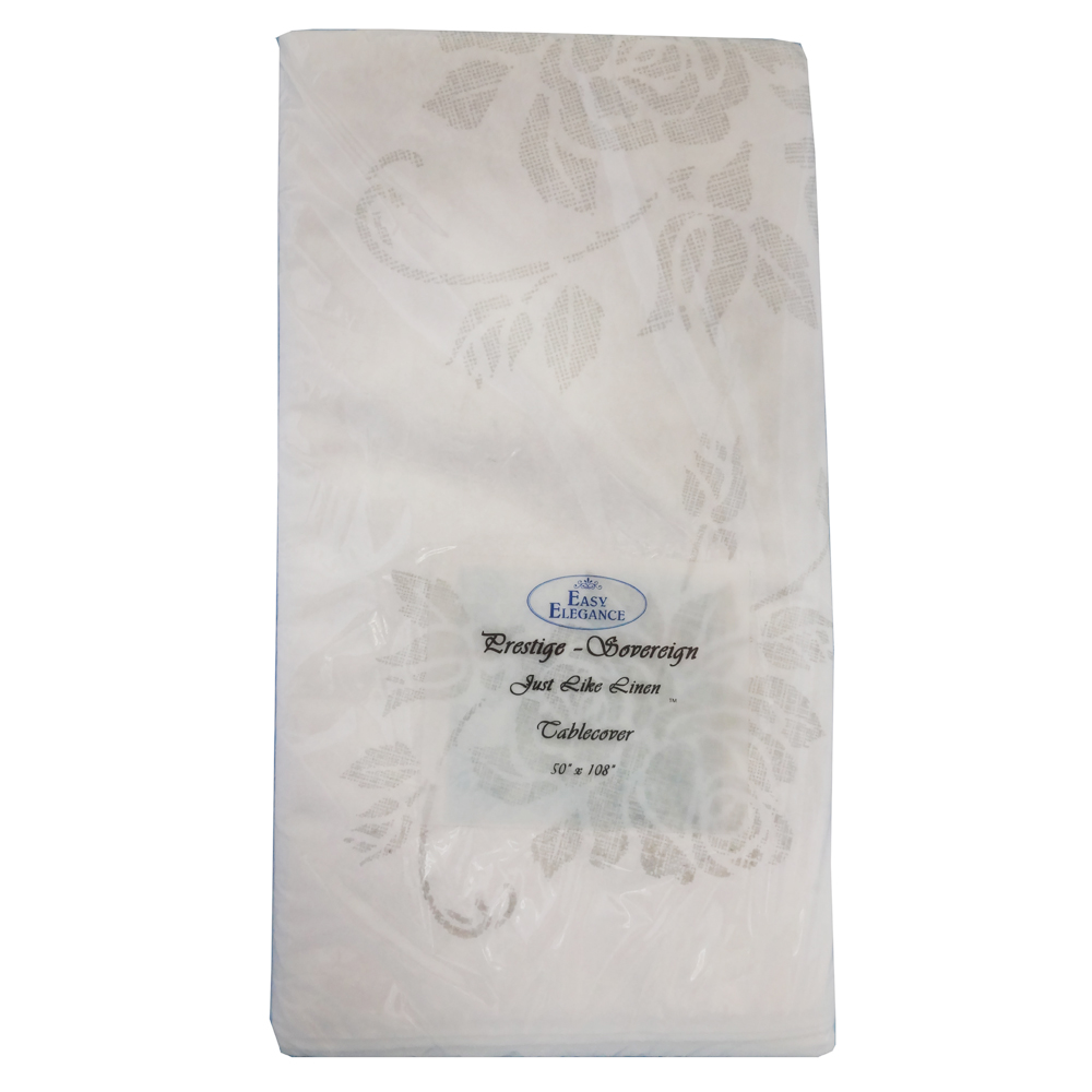 "Convenience Packs - Easy Elegance White 50""x108""  Prestige Linen Like Rectangular Paper Table C"