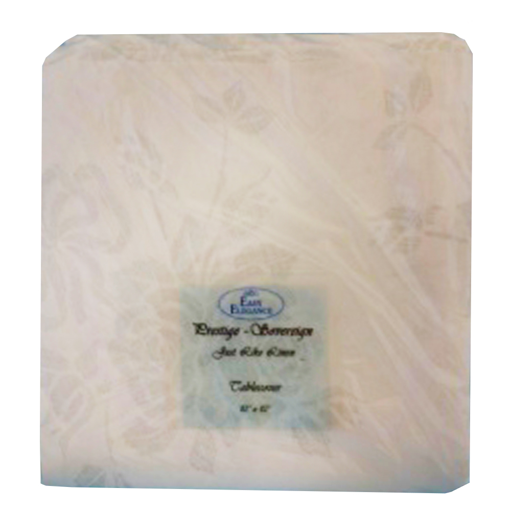 "Convenience Packs - Easy Elegance White 82""x82""   Prestige Linen Like Paper Table Cover PRSTG 8"