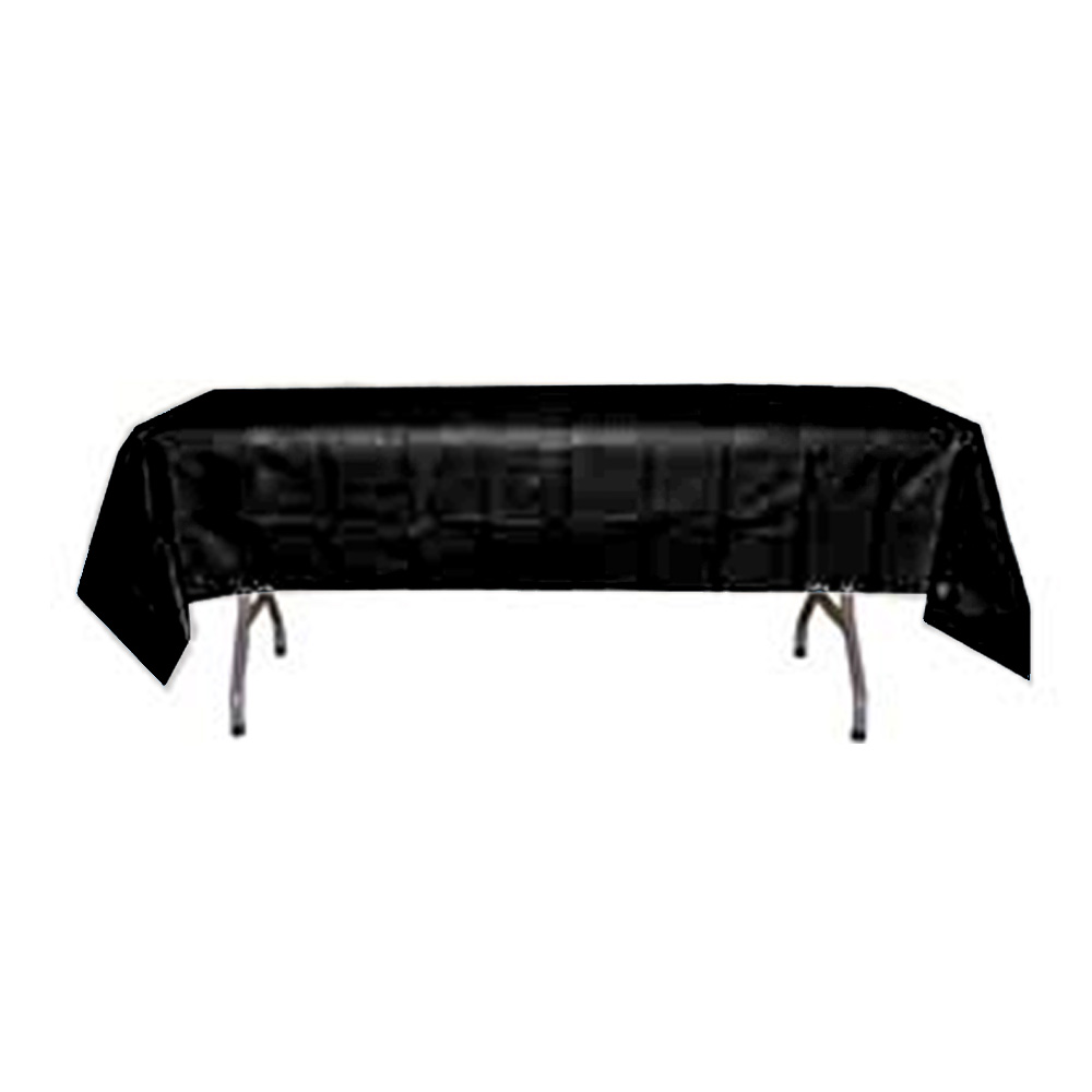 "Crown Display - Black 54""x108"" Rectangular Plastic Table Cover 90002"