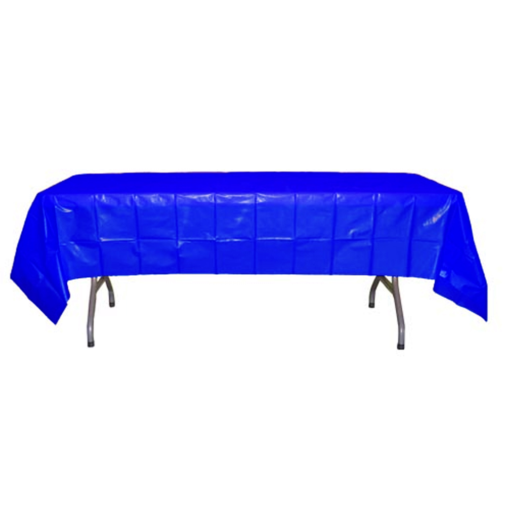 "Crown Display - Dark Blue 54""x108"" Rectangular Plastic Table Cover 90005"