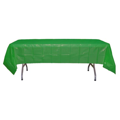 "Crown Display - Emerald Green 54""x108"" Rectangular Plastic Table Cover 90010"