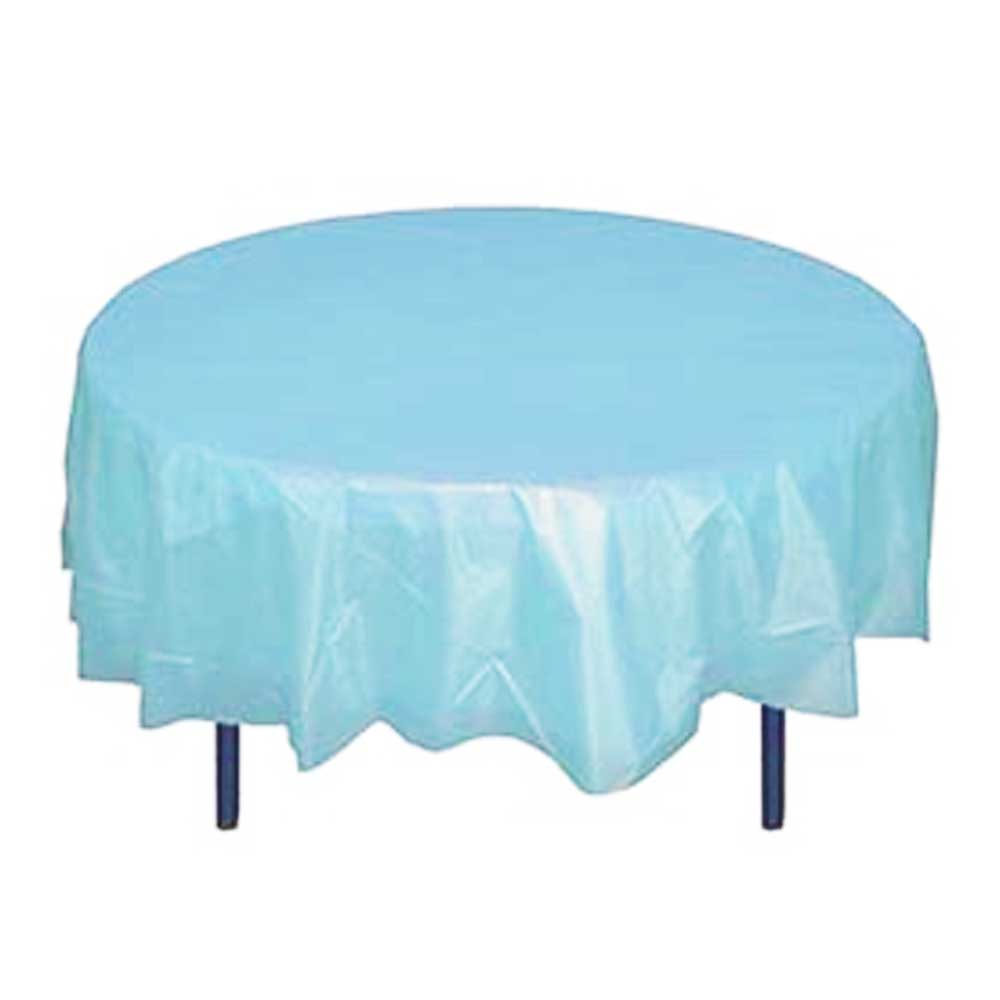 "Crown Display Light Blue 84"" Round Plastic Table Cover 91013"