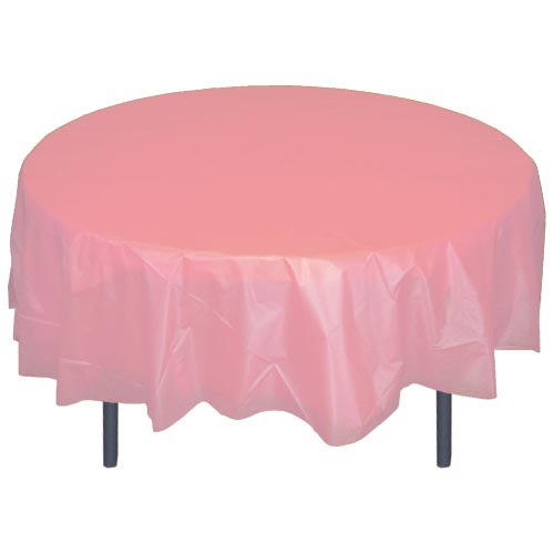"Crown Display Pink 84"" Round Plastic Table Cover 91018"