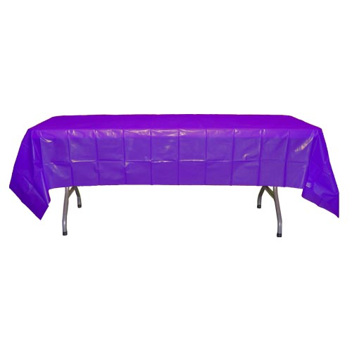 "Crown Display - Purple 54""x108"" Rectangular Plastic Table Cover 90019"