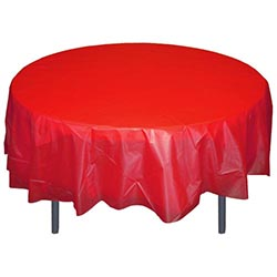 "Crown Display - Red 84"" Round Plastic Table Cover 91020"