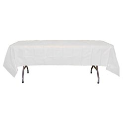 "Crown Display - White 54""x108"" Rectangular Plastic Table Cover 90023"