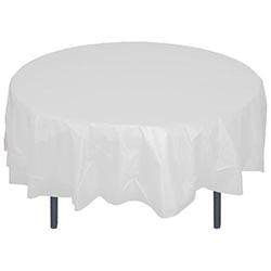 "Crown Display - White 84"" Round Plastic Table Cover 91023"