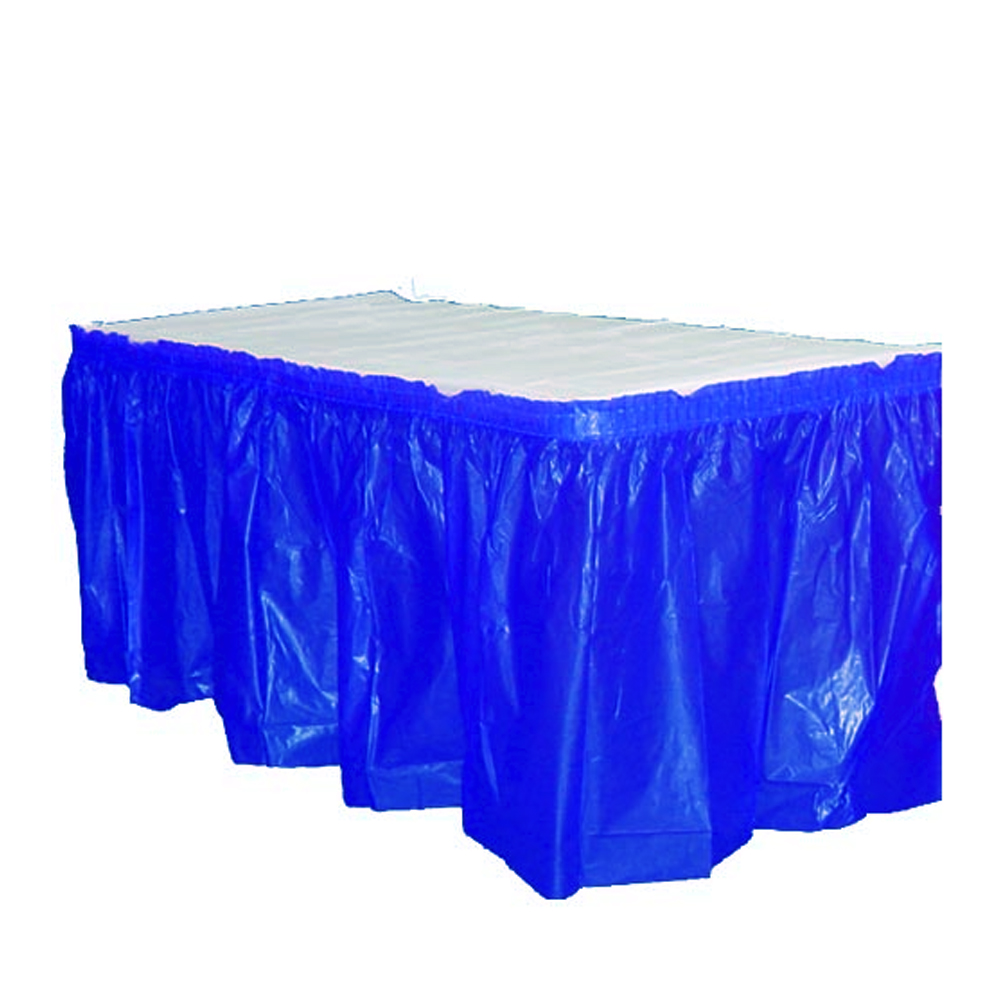 "Crown Display - Exquisite Dark Blue 14'x29"" Rectangular Plastic Table Skirt 93005"