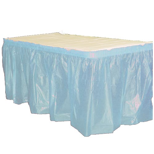 "Crown Display - Exquisite Light Blue 14'x29"" Rectangular Plastic Table Skirt 93013"