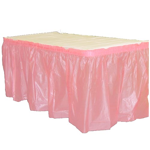 "Crown Display - Exquisite Pink 14'x29"" Rectangular Plastic Table Skirt 93018"