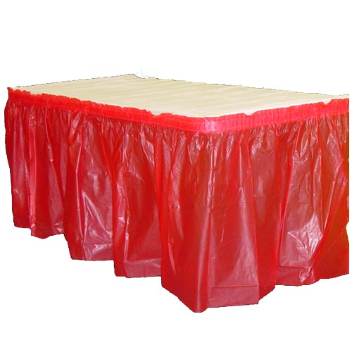 "Crown Display - Exquisite Red 14'x29"" Rectangular Plastic Table Skirt 93020"