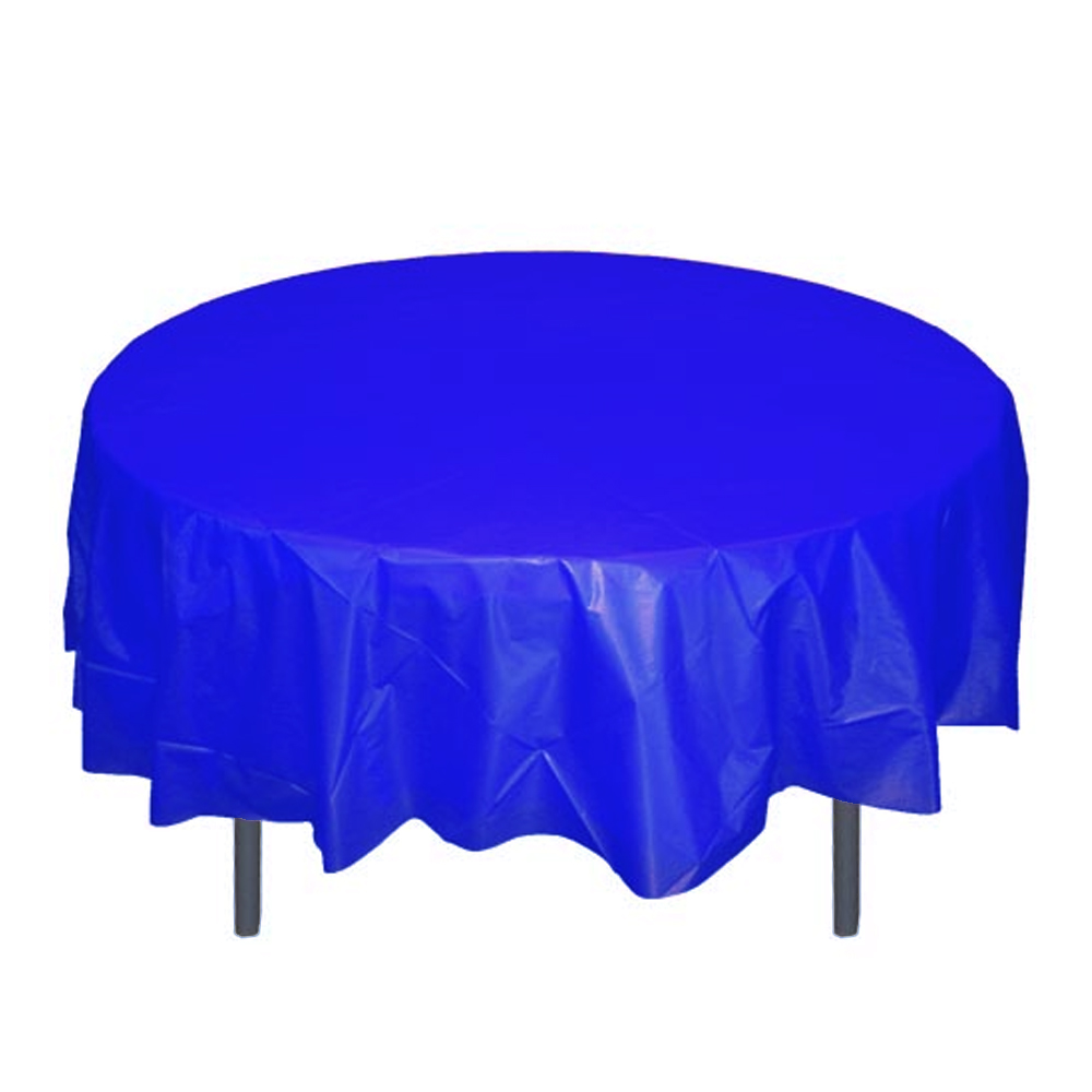 "Crown Display - Dark Blue 84"" Round Plastic Table Cover 91005"