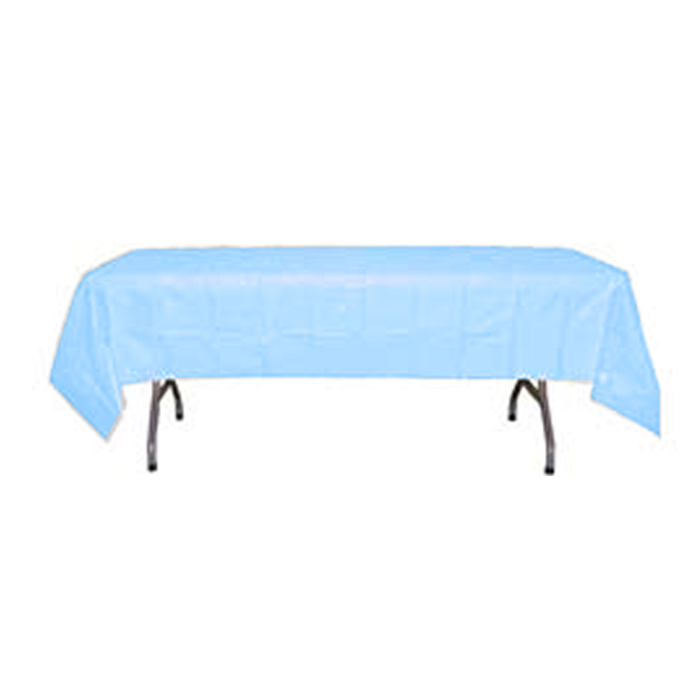 "Crown Display Light Blue 54""x108' Plastic Table Cover 90013"