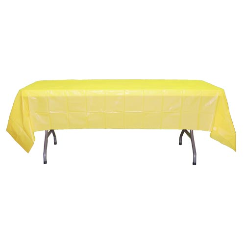 "Crown Display - Light Yellow 54""x108' Rectangular Plastic Table Cover 90025"