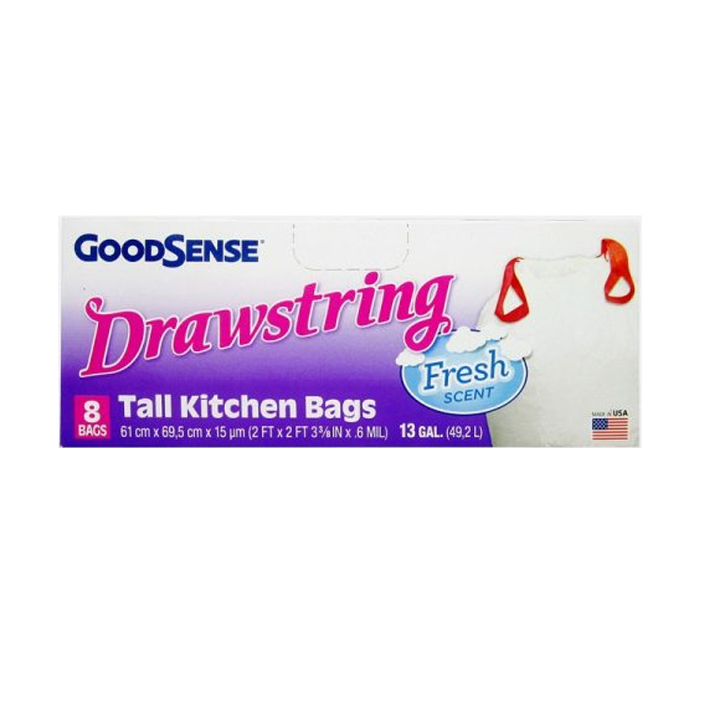 Berry Global Film White 13 Gallon Good Sense Tall Kitchen Bag With Drawstring Fresh Scent GDS2