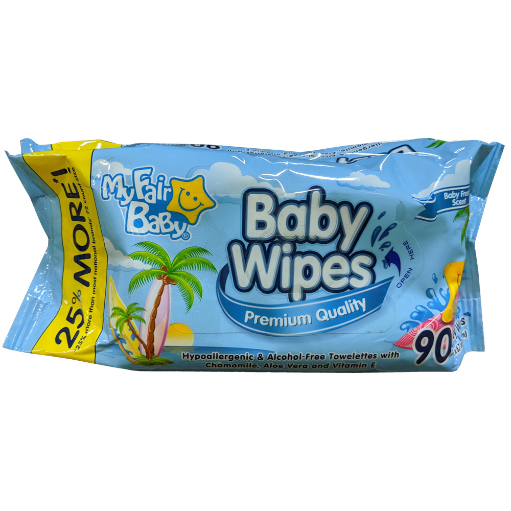 "Delta Brands - My Fair Baby Blue 5.5""x6.7"" 90     Count Premium Quality Baby Wipes Refill 10485"