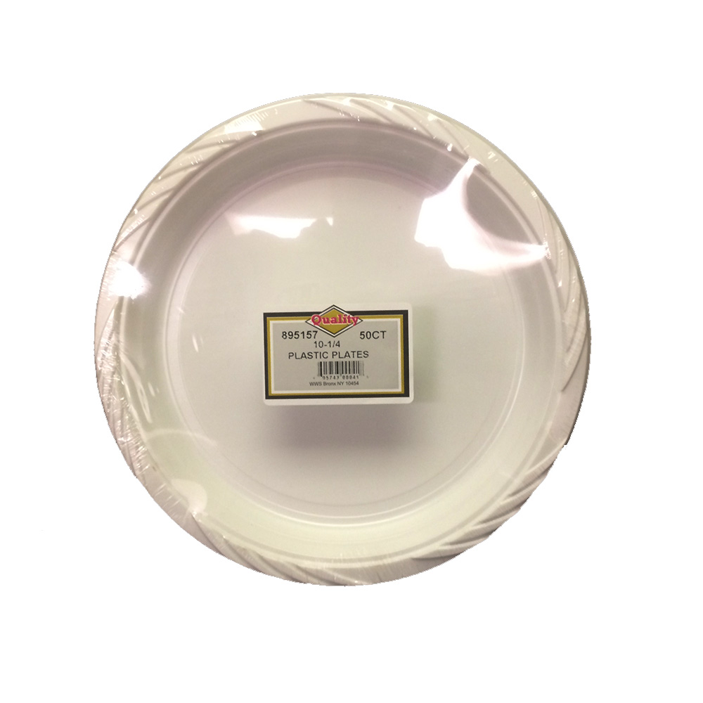 "Convenience Packs - Quality White 10.5"" Round     Plastic Plate P10/50/10"