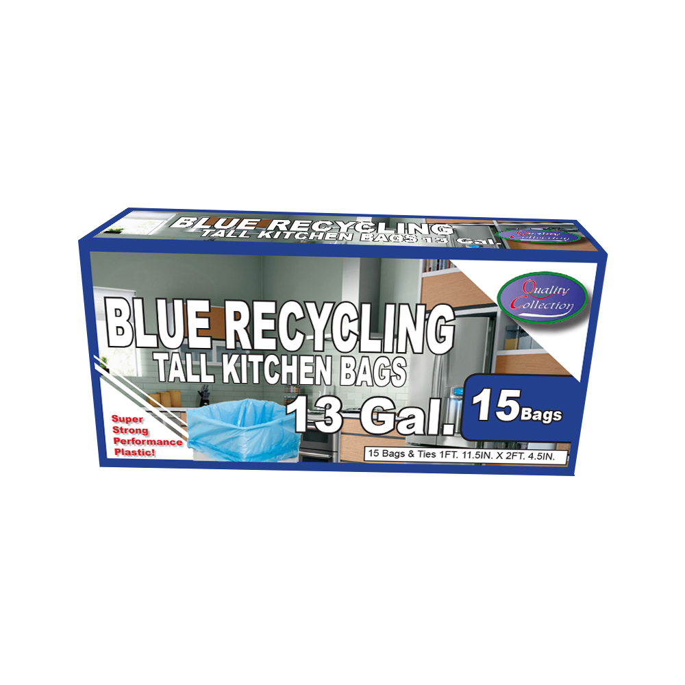 Quality Collection Blue 13 Gallon Recycle Bags B36/15