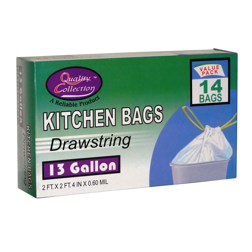 Quality Collection White 13 Gallon Plastic Kitchen Drawstring Bag B50B