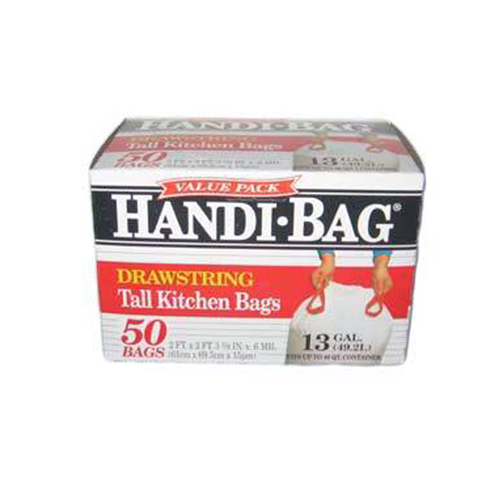Berry Global Film White 13 Gallon Handi Bag Tall  Kitchen Drawstring Bag HAB 6DK50