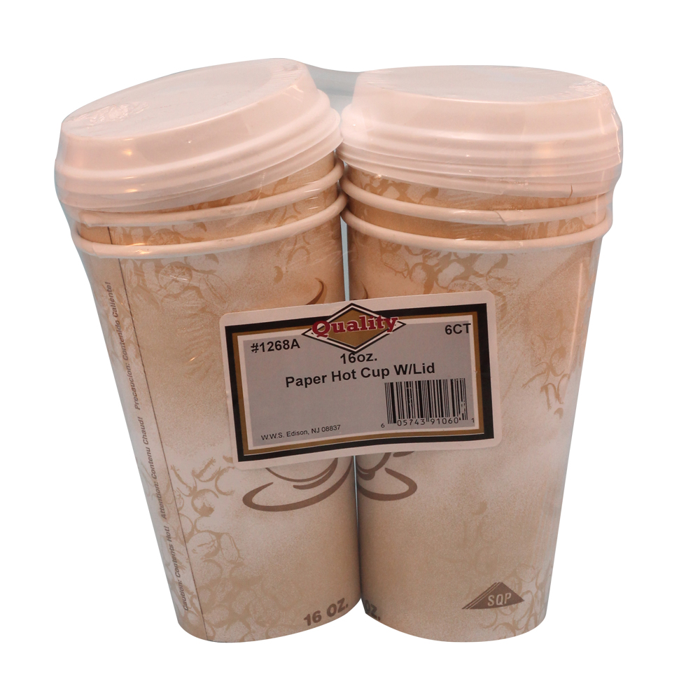 Convenience Packs - Misprint 16 oz. Paper Hot Cup With Lid Combo 1268A