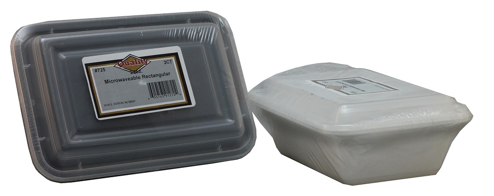 Convenience Packs Black/White 24oz Microwavable   Rectangular Container Combo 725/72