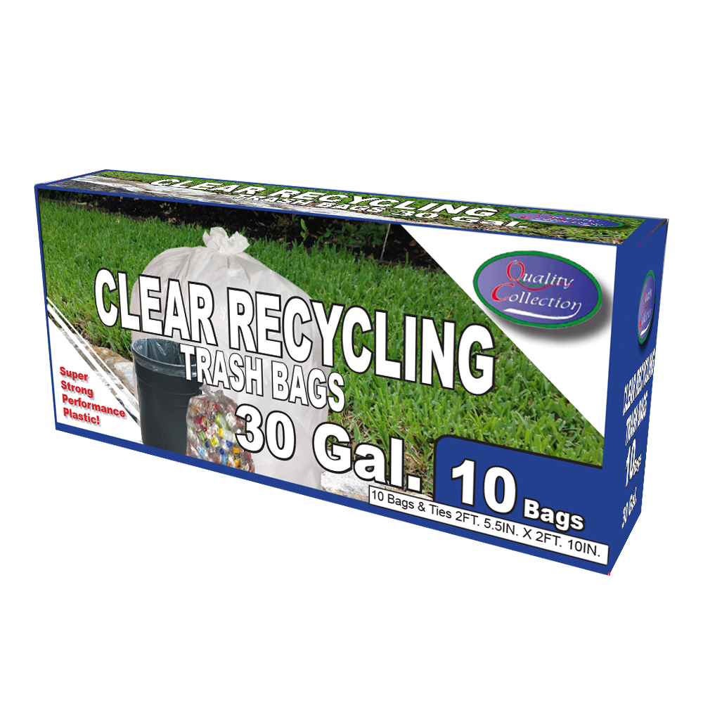 Quality Collection Clear 30 Gallon Recycle Bags B36/10C