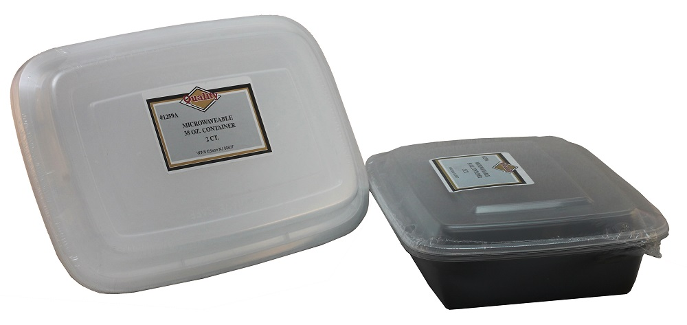 Convenience Packs - Quality Black/White 38 oz.    Rectangular Plastic Microwavable Container Co