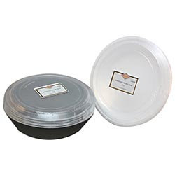 Convenience Packs - Quality Black/White 48 oz.    Round Plastic Microwavable Container Combo 12