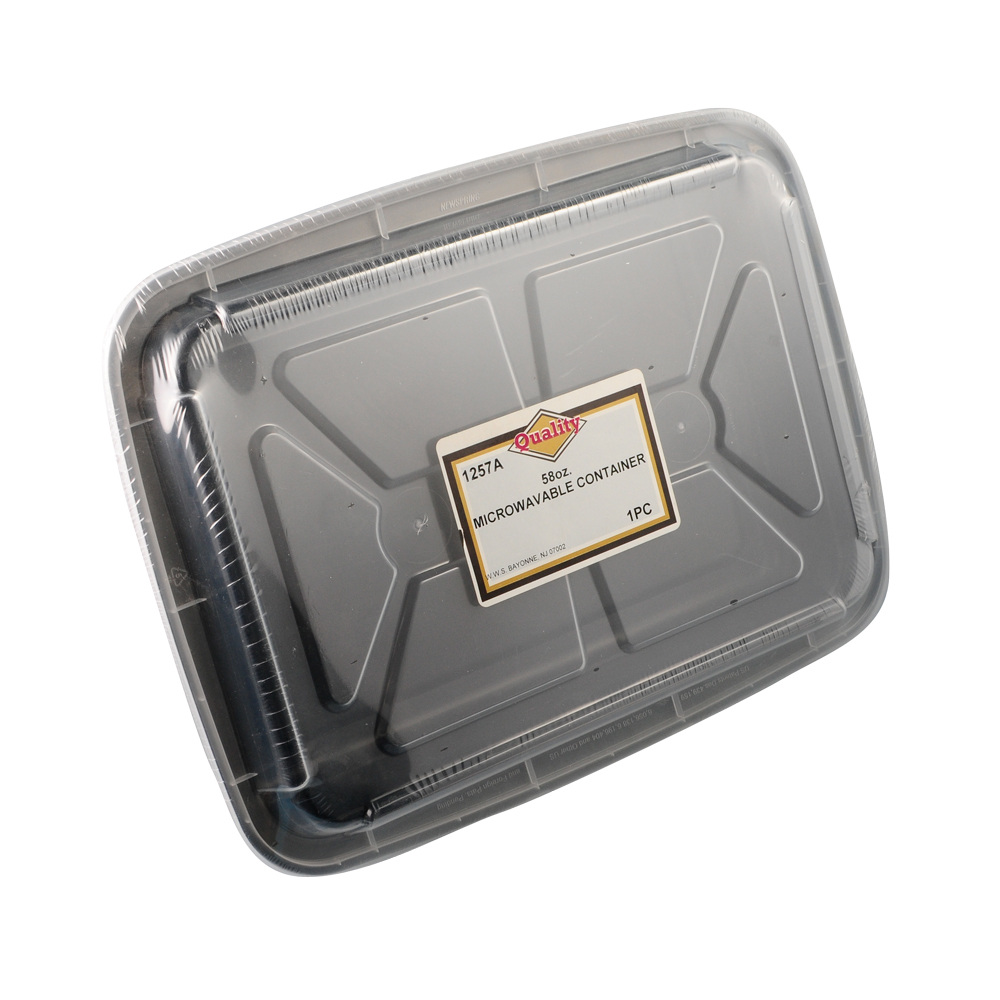 Convenience Packs - Quality Black 58 oz.          Rectangular Plastic Microwavable Container Co