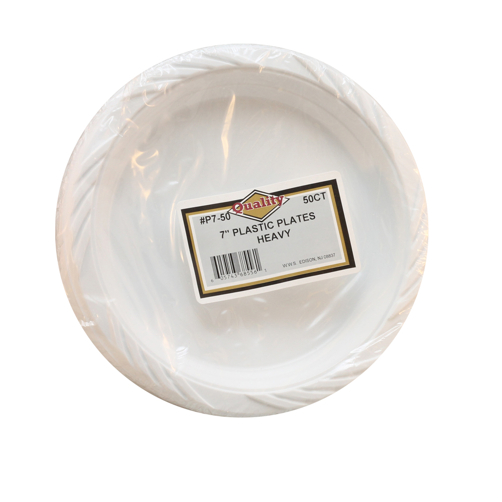 "Convenience Packs - Quality White 7"" Round Plastic Plate P7/50"
