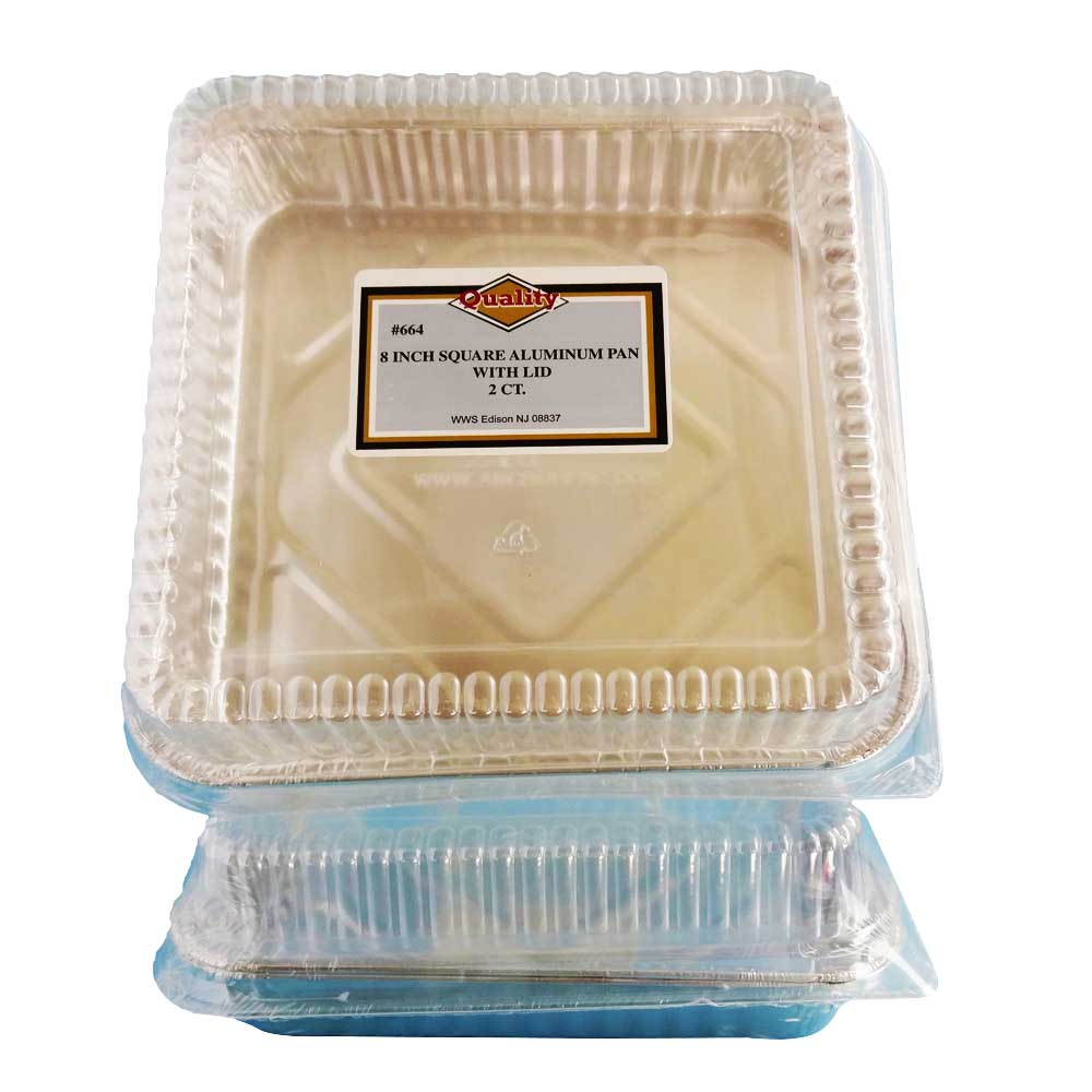 "Convenience Packs Aluminum 8"" Square Container With Dome Lid 664"