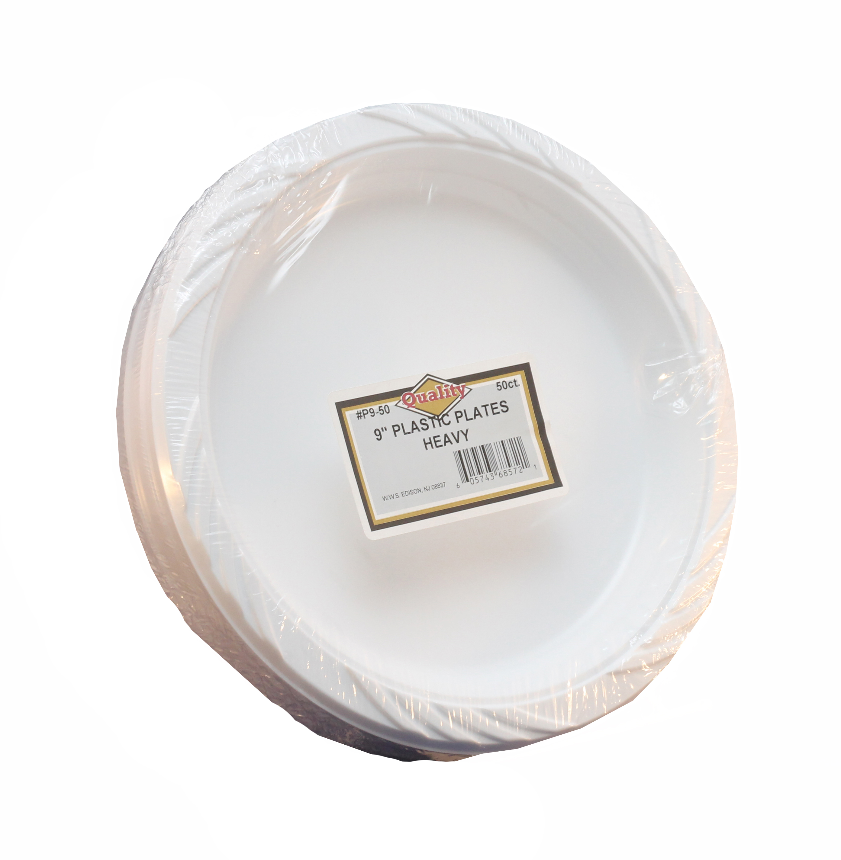 "Convenience Packs - Quality White 9"" Round Plastic Plate P9/50"