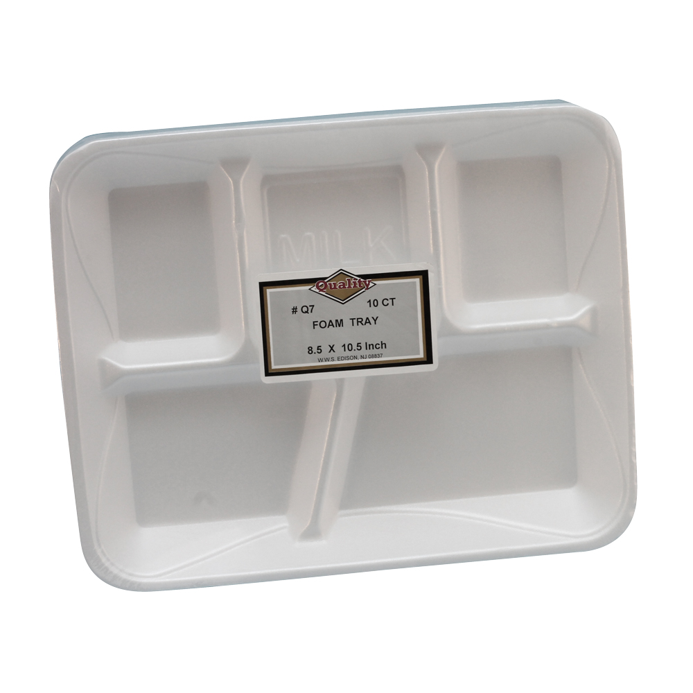 "Convenience Packs - Quality White 9""x7""  5 Compartment Foam Tray  Q77"