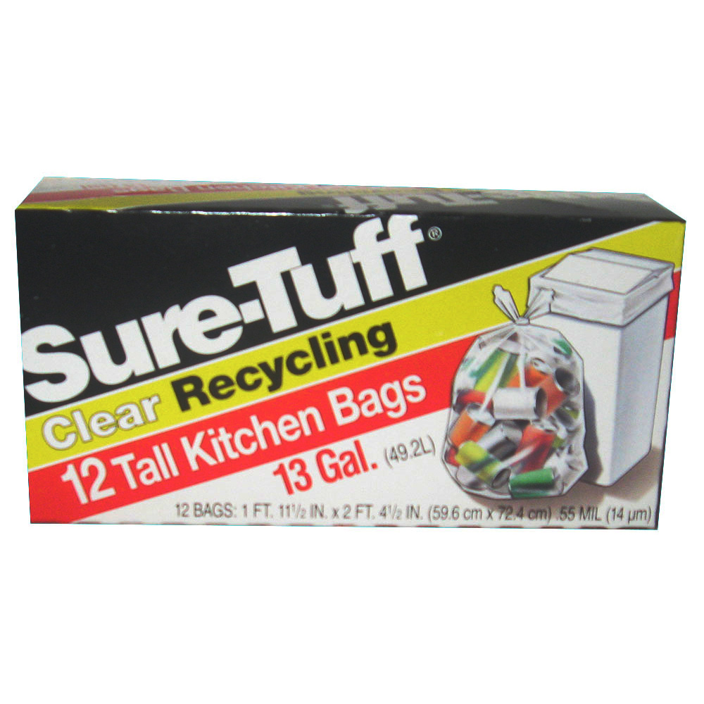 Berry Global Film Clear 13 Gallon Sure Tuff       Recycle Tall Kitchen Bag SRT24CFK12