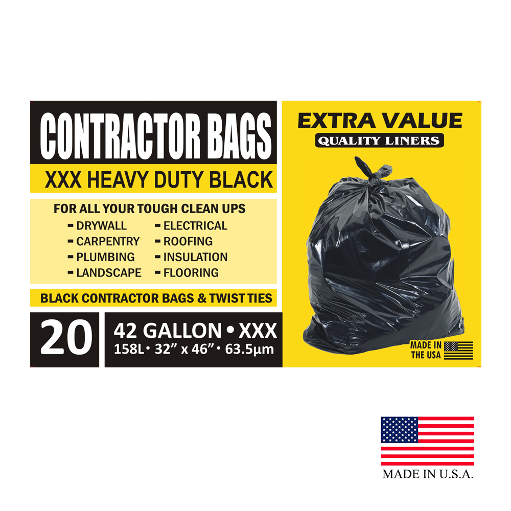 "Aluf Plastics - Black 32""x46"" 20 Count 42 Gallon Plastic Contractor Bags & Twist Ties API20/CON"