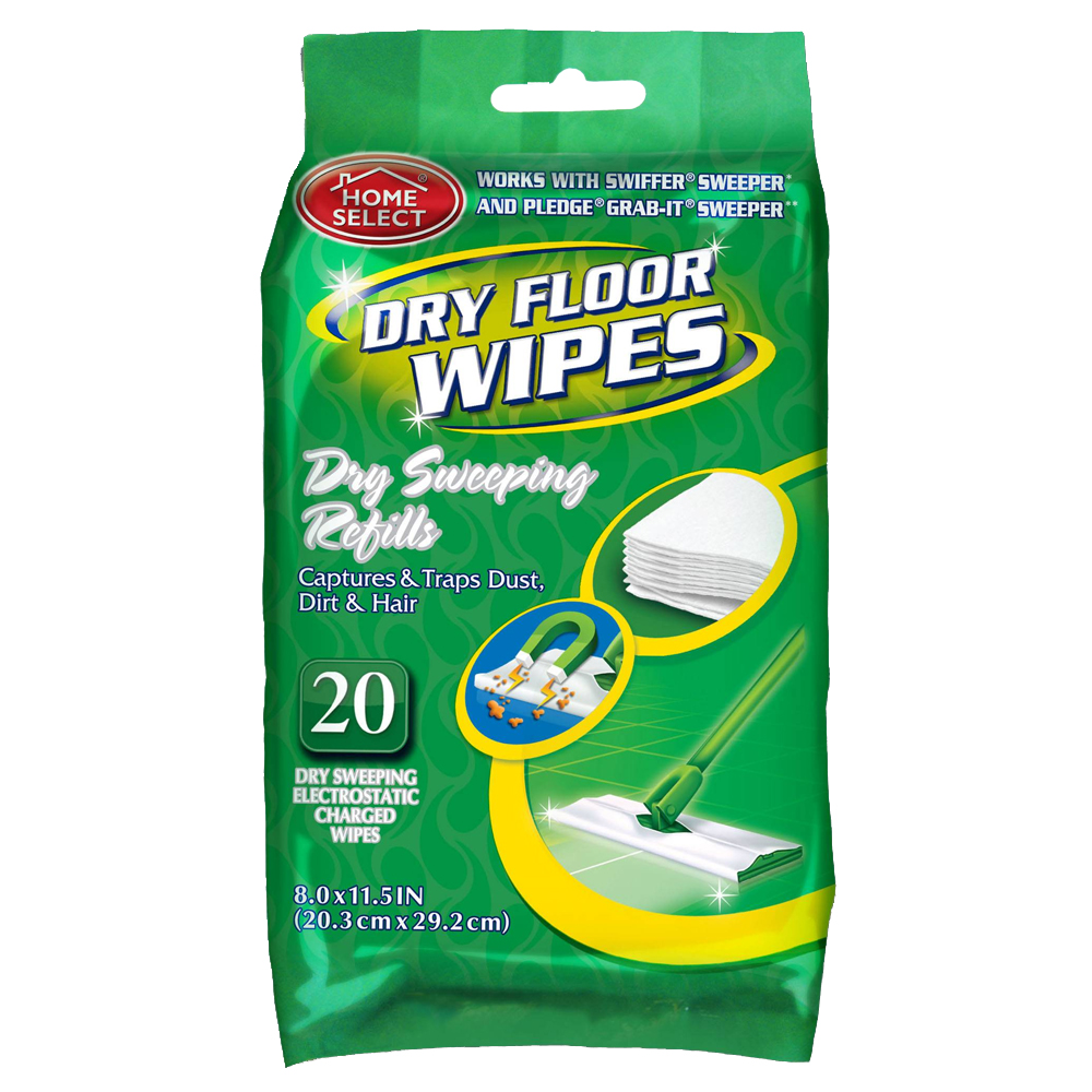 "Delta Brands Home Select 8""x11.5"" 20 Count Dry Floor Wipe 10264-24"